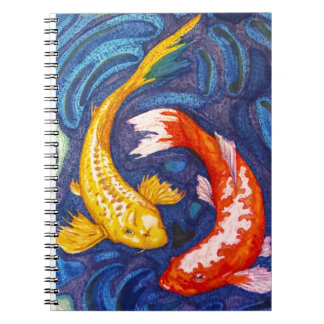 二重コイの魚のデザイン ノートブック