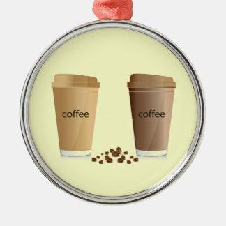 二重コーヒークリームの砂糖の蜂蜜の飲料熱いWA メタルオーナメント