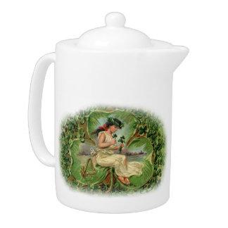 二重シャムロックの妖精の茶ポット- 1B