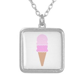 二重スコップのアイスクリームコーン-ピンク シルバープレートネックレス