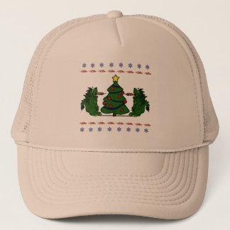 二重ドラゴンのクリスマスツリーの醜いセーターのデザイン キャップ