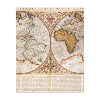 二重半球の世界地図1587年 キャンバスプリント