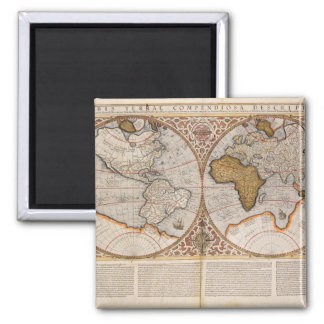 二重半球の世界地図1587年 マグネット