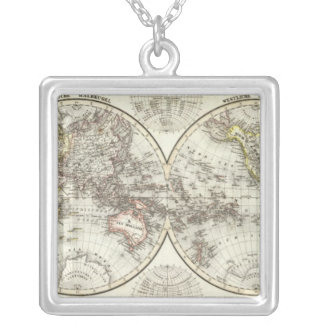 二重半球の世界地図 シルバープレートネックレス