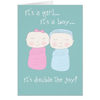 二重喜び! 対の女の子及び男の子Notecard カード