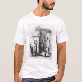 二重寝かせられた部屋の中年の女性 Tシャツ