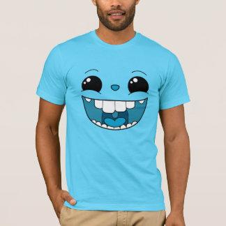 二重幸せで青い顔の人のTシャツ Tシャツ