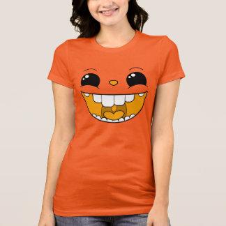 二重幸せで黄色い顔の女性Tシャツ Tシャツ