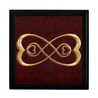 二重無限金ゴールドのハート-赤い大理石のデザイン ギフトボックス