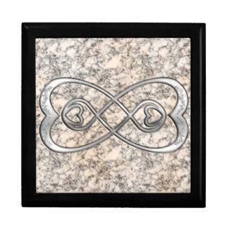 二重無限銀の中心の白い大理石のデザイン ギフトボックス