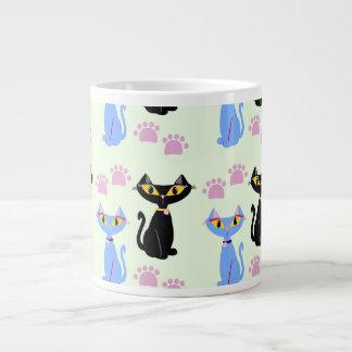 二重猫パターン ジャンボコーヒーマグカップ