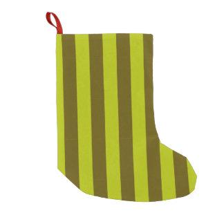二重緑のストライプ スモールクリスマスストッキング