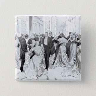 「二階に日常生活」からのCotillon、1902年 5.1cm 正方形バッジ