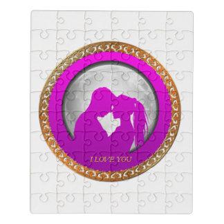 互いに接吻する若いカップルのピンクのシルエット ジグソーパズル