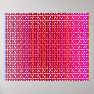 互いに直面するオップアート赤い赤紫のバイオレット ポスター