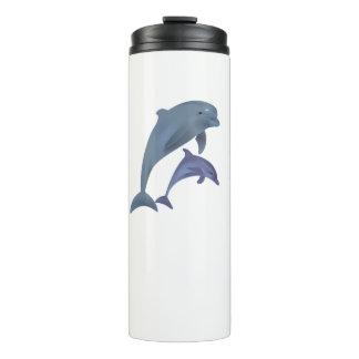 互いの側で跳んでいる2頭の熱帯イルカ タンブラー