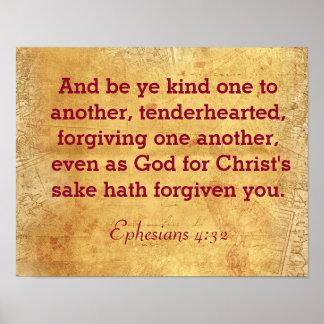 互いへYeの種類で- Ephesiansの4:32のプリントであって下さい ポスター