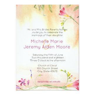 互い違いのBohoのフリージアのピンクの破裂音の結婚式 14 X 19.1 インビテーションカード