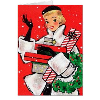 五十年代のクリスマスの買物客 カード
