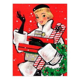 五十年代のクリスマスの買物客 ポストカード