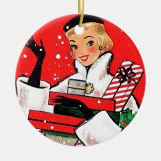五十年代のクリスマスの買物客 陶器製丸型オーナメント