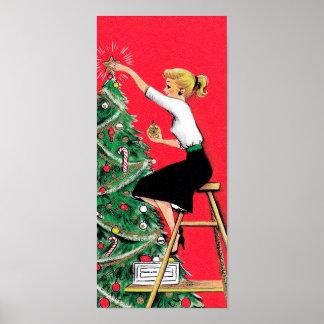 五十年代のクリスマスツリーのトリマー ポスター