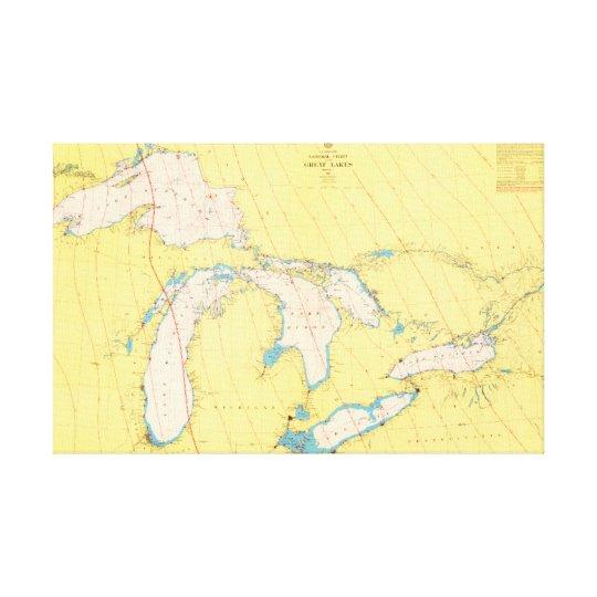 五大湖の航海のな図表および地図 キャンバスプリント
