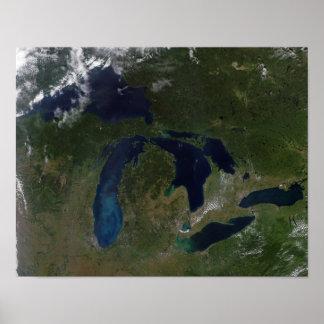 五大湖の衛星眺め ポスター