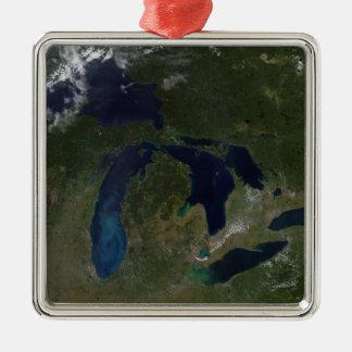 五大湖の衛星眺め メタルオーナメント