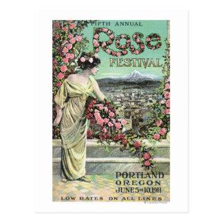 五番目に一年生植物ばら色のフェスティバル広告 ポストカード
