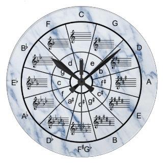 五番目のエレガントで青い大理石パターン円 ラージ壁時計