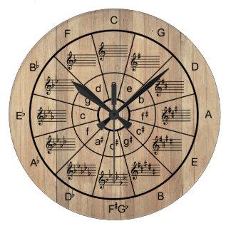 五番目茶色色のミュージシャンの円 ラージ壁時計