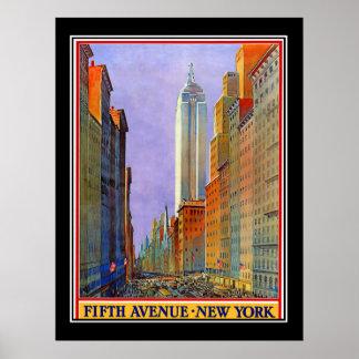 五番街のニューヨークのアールデコのヴィンテージポスター ポスター