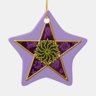 五芒星-薄紫の金ゴールド及び紫色 セラミックオーナメント