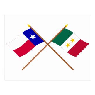 交差させたテキサス州およびコアウイラ州y Tejasの旗 ポストカード