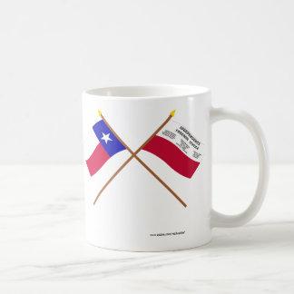 交差させたテキサス州およびFredoniaの旗 コーヒーマグカップ