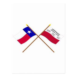 交差させたテキサス州およびFredoniaの旗 ポストカード