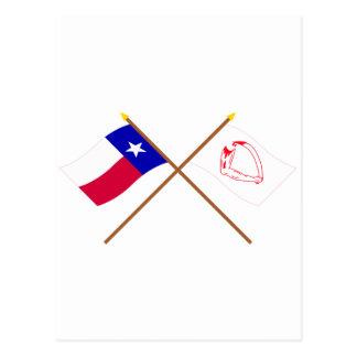 交差させたテキサス州およびGoliadの旗 ポストカード