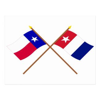 交差させたテキサス州およびHarrisburgのボランティアの旗 ポストカード