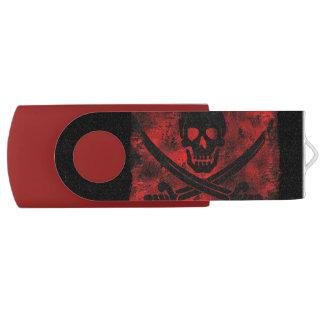 交差させた剣の気色悪いアートワークが付いているスカル USBフラッシュドライブ