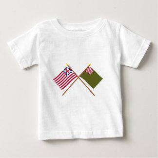 交差させた壮大な連合およびデラウェア州在郷軍の旗 ベビーTシャツ