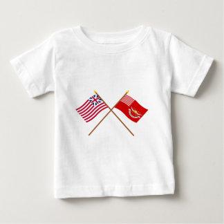 交差させた壮大な連合およびTallmadgeの竜騎兵の旗 ベビーTシャツ
