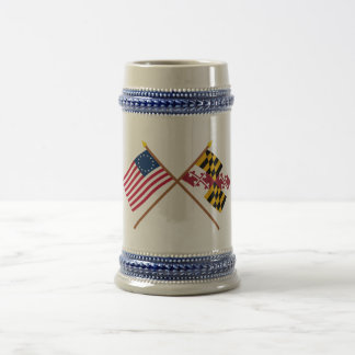 交差させた米国の13星およびメリーランドの州の旗 ビールジョッキ