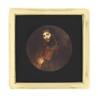 交差する彼の腕を搭載するイエス・キリスト ゴールド ラペルピン