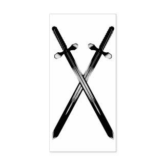 交差の剣の縦のゴム印 ラバースタンプ
