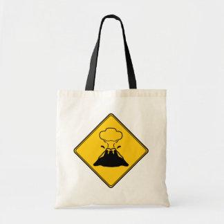 交通標識の火山 トートバッグ