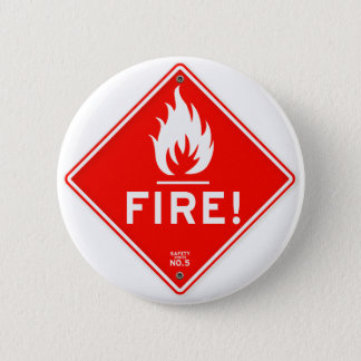 交通標識の赤い警告標識の火災危険 缶バッジ