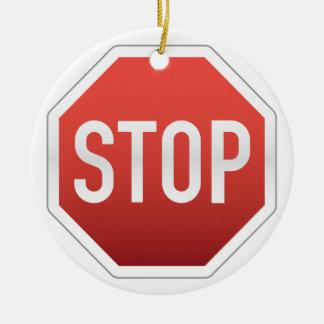 交通標識をストップ セラミックオーナメント