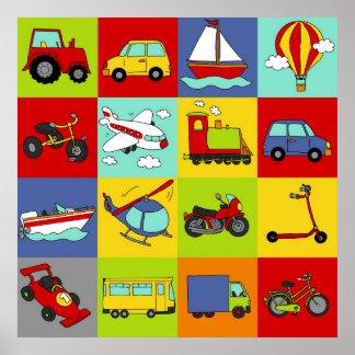 交通機関のモザイク ポスター