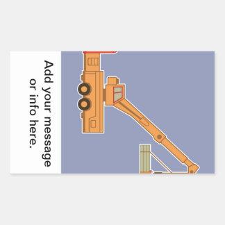 交通機関の重い装置のオレンジクレーン-青 長方形シール